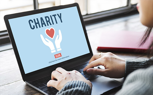 Person giving to charity on laptop