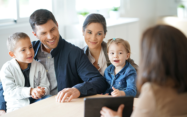 Family discussing personal banking options